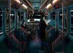 1girl 2boys coat display fluorescent_lamp ground_vehicle ka92 multiple_boys night original reading science_fiction sitting standing train train_interior