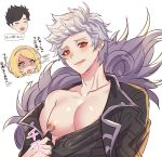 1girl 2boys alter_ego_malevolent_(granblue_fantasy) belial_(granblue_fantasy) black_hair blonde_hair chiharudaaaaaaa djeeta_(granblue_fantasy) fang feather_boa gran_(granblue_fantasy) granblue_fantasy grey_hair hairband highres licking_lips male_focus multiple_boys nipple_piercing nipple_rings pectorals piercing red_eyes self_exposure shaded_face shirt_pull simple_background skin_fang solo_focus tongue tongue_out upper_body white_background