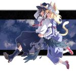 2girls animal_ears arm_garter belt black_belt black_footwear black_headwear black_skirt black_wings blonde_hair blue_dress boots bow brown_eyes brown_hair clouds cloudy_sky dress dress_shirt feathered_wings feathers fedora floating frown hand_on_headwear hat hat_bow high_heel_boots high_heels holding_hands kemonomimi_mode long_dress long_hair long_skirt long_sleeves maribel_hearn mary_janes medium_hair mob_cap multiple_girls necktie night night_sky outside_border re_ghotion red_footwear red_neckwear shirt shoes skirt sky smile socks star_(sky) starry_sky sweatdrop tail touhou usami_renko white_bow white_headwear white_legwear white_shirt wing_collar wings