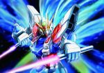 beam_saber build_strike_gundam clenched_hands close-up dual_wielding energy_wings glowing glowing_eyes green_eyes gundam gundam_build_fighters highres holding holding_sword holding_weapon looking_at_viewer mecha no_humans solo sunflower_(tomodog422) sword upper_body v-fin weapon