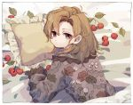 1girl border brown_eyes brown_hair cherry closed_mouth floral_print food from_behind fruit ka_(marukogedago) leaf looking_at_viewer looking_back lying medium_hair on_bed on_stomach original pillow solo under_covers white_border