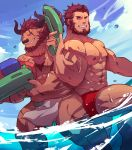 2 2boys abs absurdres alternate_costume animal_ears back-to-back bara bard bare_chest beard chest_hair commission cow_boy cow_ears cow_horns facial_hair fate/grand_order fate/zero fate_(series) feet_out_of_frame furry guoguo hest highres horns iskandar_(fate) loincloth loincloth_lift male_focus male_swimwear minotaur multiple_boys muscle navel nipples one_eye_closed red_eyes redhead scar scar_across_eye short_hair swim_briefs swimwear thick_thighs thighs water wet