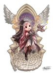 1girl :d absurdres black_eyes breasts brown_legwear candelabra candle chibi covered_navel dated detached_sleeves fantasy fire full_body garter_belt highres long_hair lumia_saga myo-zin nun open_mouth pink_hair small_breasts smile solo stained_glass standing very_long_hair white_background wings