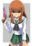 1girl bangs black_legwear black_neckwear blouse blunt_bangs brown_eyes combat_knife cowboy_shot dual_wielding empty_eyes evil_grin evil_smile eyebrows_visible_through_hair girls_und_panzer green_skirt grey_background grin gun handgun highres holding holding_gun holding_knife holding_weapon knife kuku123 leaning_forward long_hair long_sleeves miniskirt neckerchief ooarai_school_uniform orange_hair outside_border pleated_skirt sailor_collar school_uniform serafuku sharp_teeth skirt smile solo standing takebe_saori teeth thigh-highs v-shaped_eyebrows weapon white_blouse white_sailor_collar