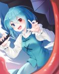 1girl arms_up blue_eyes blue_hair blue_skirt blue_vest bob_cut chikuwa_savy claw_pose clouds commentary_request cowboy_shot eyebrows_visible_through_hair fisheye gradient_sky hair_between_eyes heterochromia highres holding holding_umbrella juliet_sleeves karakasa_obake leaning_forward long_sleeves looking_at_viewer outdoors puffy_sleeves red_eyes shirt short_hair skirt sky solo standing tatara_kogasa tongue touhou twilight umbrella vest white_shirt