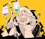 1girl black_headwear bright_pupils commentary dress hat highres intravenous_drip long_hair long_sleeves ma_sakasama matara_okina mismatched_pupils raised_eyebrow simple_background smile solo spot_color touhou wheelchair white_pupils wide_sleeves yellow_background yellow_eyes