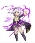 1girl aura betabetamaru boots bright_pupils dark_aura fire_emblem fire_emblem_awakening full_body gloves grima_(fire_emblem) highres hood hood_up hooded_robe long_hair long_sleeves magic outstretched_arm pixel_art red_eyes robe robin_(fire_emblem) robin_(fire_emblem)_(female) shiny shiny_hair silver_hair simple_background smirk twintails white_background
