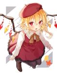 1girl adapted_uniform argyle argyle_legwear beret black_legwear blonde_hair bow brown_footwear fang flandre_scarlet hair_between_eyes hat hat_bow hi_o_kawa highres leaf long_hair long_sleeves looking_at_viewer pantyhose pointy_ears red_bow red_eyes red_headwear red_skirt red_vest shirt shoes side_ponytail skirt skirt_set solo touhou vest white_background white_shirt wings yellow_neckwear