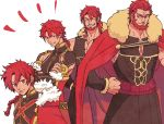1boy age_progression alexander_(fate) braid cape cowboy_shot crossed_arms fate/grand_order fate/zero fate_(series) fur_trim grin hands_on_hips iskandar_(fate) long_hair male_focus muscle natsu_yasai ponytail red_cape red_eyes redhead simple_background single_braid smile white_background