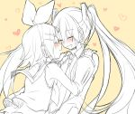 2girls bare_shoulders blush bow closed_eyes detached_sleeves face-to-face hair_bow hair_ornament hairclip hands_on_another's_shoulders hatsune_miku headphones headset heart imminent_kiss kagamine_rin leaning_forward long_hair monochrome multiple_girls necktie puckered_lips shirt shoulder_grab sketch sleeveless sleeveless_shirt sudachi_(calendar) twintails very_long_hair vocaloid yellow_background yuri