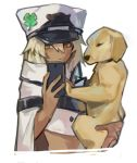1girl animal cape cellphone clover dark_skin dog expressionless four-leaf_clover guilty_gear guilty_gear_strive hair_between_eyes hat_ornament holding holding_animal holding_dog holding_phone medium_hair midriff phone platinum_blonde_hair puppy ramlethal_valentine self_shot smartphone solo_focus uncle_rabbit_ii white_background white_headwear yellow_eyes
