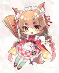 1girl :d animal_ear_fluff animal_ears apron bangs between_fingers blush_stickers braid broom brown_eyes brown_hair checkered chibi commentary_request dango eyebrows_visible_through_hair food food_themed_hair_ornament frilled_apron frills full_body green_legwear gyozanuko hair_between_eyes hair_ornament hairclip highres holding holding_broom holding_food japanese_clothes kimono long_hair long_sleeves looking_at_viewer lumia_saga maid_headdress obi open_mouth red_footwear red_kimono sanshoku_dango sash short_eyebrows smile solo striped striped_legwear tail thick_eyebrows thigh-highs twin_braids twintails vertical-striped_legwear vertical_stripes very_long_hair wa_maid wagashi white_apron wide_sleeves zoom_layer zouri