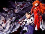 1boy 1girl highres ikari_shinji mass_production_eva mecha neon_genesis_evangelion official_art plugsuit sadamoto_yoshiyuki serious source_request souryuu_asuka_langley