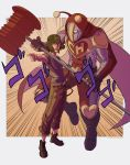 2boys araki_hirohiko_(style) boots cape commentary el_chapulin_colorado el_chapulin_colorado_(series) el_chavo el_chavo_del_ocho full_body green_lipstick gui_ttb hammer heart highres holding holding_hammer holding_weapon jojo_no_kimyou_na_bouken jojo_pose lipstick makeup male_focus menacing_(jojo) multiple_boys muscle parody pointing pointing_at_viewer pose shirt short_sleeves stand_(jojo) striped striped_shirt style_parody suspenders toy_hammer weapon
