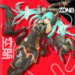1girl aqua_hair armpits arms_up black_legwear blue_eyes cable can controller copyright_name dendou_(andu0083) detached_sleeves dive_to_zone english_text extra_arms floating game_controller gloves glowing highres holding holding_can holding_controller holding_game_controller long_hair looking_at_viewer lying mechanical mechanical_arms neon_lights on_back parted_lips power_symbol smile solo twintails white_gloves
