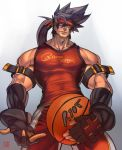 1boy alternate_costume ball bara bare_shoulders basketball basketball_uniform brown_hair chest commission covered_abs cowboy_shot fingerless_gloves from_below gloves guilty_gear headgear holding holding_ball long_hair male_focus muscle na_insoo ponytail shiny shiny_skin simple_background sleeveless sol_badguy solo spiky_hair sportswear tight yellow_eyes