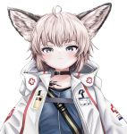1girl absurdres akegata_tobari animal_ears arknights bell bell_collar blue_eyes blue_shirt cloak collar commentary_request eyebrows_visible_through_hair eyelashes fox_ears fox_girl highres hood hooded_cloak huge_filesize large_ears looking_at_viewer looking_down medic open_cloak open_clothes oripathy_lesion_(arknights) platinum_blonde_hair red_cross shirt short_hair simple_background solo sussurro_(arknights) white_background white_cloak