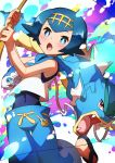 1girl absurdres bare_arms blue_eyes blue_hair blue_pants blush commentary_request covered_navel fingernails fishing_rod freckles gen_1_pokemon gen_7_pokemon gyarados hairband highres holding holding_fishing_rod lana_(pokemon) one-piece_swimsuit open_mouth pants pokemon pokemon_(creature) pokemon_(game) pokemon_sm sandals shiny shiny_hair swimsuit swimsuit_under_clothes taisa_(lovemokunae) tongue wishiwashi wishiwashi_(solo)