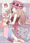 1girl absurdres artist_name bag bracelet brown_hair calem_(pokemon) cellphone charizard commentary_request espurr eyelashes eyewear_on_headwear gen_1_pokemon gen_6_pokemon greninja grey_eyes hat highres holding holding_phone jewelry long_hair looking_back open_mouth phone pink_headwear pleated_skirt pokemon pokemon_(creature) pokemon_(game) pokemon_xy red_skirt serena_(pokemon) shopping_bag skirt smile spoken_character sunglasses telekinesis tied_hair tongue ushiomi watermark