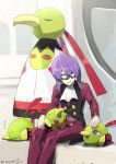 1boy artist_name black_vest eye_mask gen_2_pokemon long_sleeves looking_at_another natu open_mouth pants petting pokemon pokemon_(creature) pokemon_(game) pokemon_hgss purple_hair red_pants sitting tongue vest watermark white_neckwear will_(pokemon) xatu yamanashi_taiki