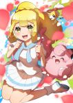 1girl absurdres backpack bag blonde_hair blush braid clefairy commentary_request cutiefly eyelashes gen_1_pokemon gen_7_pokemon green_eyes highres holding_strap lillie_(pokemon) long_hair looking_at_viewer open_mouth pink_backpack pleated_skirt pokemon pokemon_(creature) pokemon_(game) pokemon_sm shoes short_sleeves sidelocks skirt smile socks taisa_(lovemokunae) teeth tongue white_legwear white_skirt