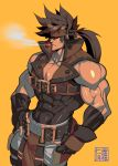 1boy bara bare_shoulders belt_buckle brown_hair buckle chest cigarette covered_abs fingerless_gloves gloves glowing glowing_eye guilty_gear harness headgear highres long_hair male_focus muscle na_insoo open_clothes pelvic_curtain ponytail red_eyes shiny shiny_skin simple_background sleeveless smoking sol_badguy solo spiky_hair tight yellow_background