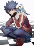 1boy bangs black_hair checkered checkered_floor closed_mouth commentary_request crossed_legs eyebrows_visible_through_hair fingerless_gloves gen_5_pokemon gloves hugh_(pokemon) jacket light_smile long_sleeves looking_at_viewer on_shoulder oshawott pants pokemon pokemon_(creature) pokemon_(game) pokemon_bw2 pokemon_on_shoulder sekaiitinoki sitting spiky_hair starter_pokemon