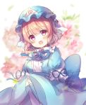 1girl :d back_bow bangs blue_kimono blue_ribbon blurry blurry_background blush bow breasts commentary_request eyebrows_visible_through_hair floral_background flower frills hat highres japanese_clothes kimono looking_at_viewer medium_breasts mob_cap neck_ribbon open_mouth pink_eyes pink_flower pink_hair pjrmhm_coa ribbon saigyouji_yuyuko short_hair sleeves_past_wrists smile solo touhou triangular_headpiece upper_body wide_sleeves