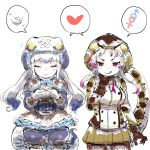>:q 2girls :q african_rock_python_(kemono_friends) arm_at_side bangs bloomers blue_hair bow bowtie brown_gloves brown_legwear capelet chabo-kun closed_eyes closed_mouth commentary_request corset cowboy_shot drawstring eyebrows_visible_through_hair facing_viewer fidgeting flying_sweatdrops frilled_hood frilled_skirt frills gloves green_skirt grey_hair hand_on_own_chin hand_up hands_up heart highres hood hood_up hooded_jacket interlocked_mars_and_venus_symbols jacket kemono_friends komodo_dragon_(kemono_friends) komodo_dragon_tail licking_lips lizard_girl lizard_tail long_sleeves looking_at_viewer mars_symbol microskirt miniskirt multicolored_hair multiple_girls own_hands_together pantyhose pleated_skirt purple_hair seductive_smile shared_speech_bubble side-by-side sitting sketch skirt smile snake_tail speech_bubble spoken_heart spoken_mars_symbol spoken_venus_symbol tail tongue tongue_out tsurime underwear v-shaped_eyebrows venus_symbol violet_eyes white_background white_gloves white_hair zipper