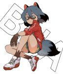 1girl animal_ears black_hair blue_shorts bob_cut brand_new_animal bright_pupils claws closed_mouth ddari dolphin_shorts domino_mask fur green_eyes grey_hair highres jacket kagemori_michiru light_smile long_sleeves mask medium_hair raccoon_ears raccoon_tail red_jacket shoes shorts sitting smile solo tail white_footwear white_pupils