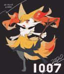 absurdres artist_name black_background braixen commentary_request dated fang full_body gen_6_pokemon hideko_(l33l3b) highres holding holding_stick looking_at_viewer no_humans number open_mouth orange_eyes pokemon pokemon_(creature) skin_fang solo stick