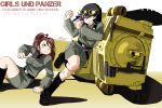 2girls amaretto_(girls_und_panzer) anzio_military_uniform aoneco blush boots breasts brown_eyes brown_hair carro_veloce_cv-33 caterpillar_tracks commentary_request dated english_text girls_und_panzer ground_vehicle light_purple_hair long_hair military military_vehicle motor_vehicle multiple_girls nib_pen_(medium) one_eye_closed pepperoni_(girls_und_panzer) pushing short_hair signature smile tank tank_helmet traditional_media white_background