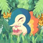 artist_name banana blush closed_eyes commentary cyndaquil doughnut english_commentary fire flame food food_on_face fruit funsizemini gen_2_pokemon highres holding holding_food no_humans pokemon pokemon_(creature) sitting solo