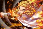 1boy black_jacket black_pants blonde_hair cape closed_mouth commentary_request ech eyebrows fire flaming_sword flaming_weapon forehead holding holding_sword holding_weapon jacket katana kimetsu_no_yaiba long_sleeves male_focus multicolored_hair pants redhead rengoku_kyoujurou sheath solo sword two-handed two-tone_hair unsheathed v-shaped_eyebrows weapon white_cape yellow_eyes