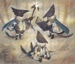 bird black_bird black_eyes black_footwear blue_cape blue_sclera book bookmark boots cape cloak feather_tails flower fur-trimmed_boots fur_trim grey_cloak holding holding_book holding_staff ka92 multiple_tails no_humans open_book original patchwork_clothes reading sitting sleeping staff standing tail two_tails white_flower
