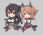 2girls black_cape black_gloves black_hair black_skirt brown_hair cape commentary_request elbow_gloves full_body gloves green_eyes grey_background hairband headband headgear kantai_collection kasumi_(skchkko) long_hair midriff miniskirt multiple_girls mutsu_(kantai_collection) nagato_(kantai_collection) no_nose outstretched_arms pleated_skirt radio_antenna red_eyes red_legwear remodel_(kantai_collection) short_hair simple_background skirt thigh-highs white_gloves white_skirt