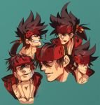 1boy :p brown_hair collage collarbone expressions face guilty_gear headgear long_hair male_focus multiple_views muscle na_insoo open_clothes pelvic_curtain ponytail shiny shiny_skin simple_background sol_badguy spiky_hair tongue tongue_out yellow_eyes