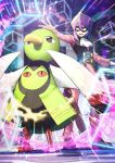 1boy black_vest commentary_request energy eye_mask gen_2_pokemon highres long_sleeves open_mouth outstretched_arms pants pokemon pokemon_(game) pokemon_hgss purple_hair spread_fingers standing teeth tongue vest white_neckwear will_(pokemon) xatu yamanashi_taiki