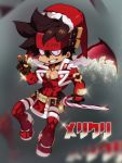 1boy belt_buckle blurry blurry_background brown_hair buckle candy candy_cane chest chibi christmas covered_abs demon_wings fingerless_gloves food full_body gloves guilty_gear hat headgear male_focus muscle na_insoo open_clothes pelvic_curtain santa_costume santa_hat shiny shiny_skin simple_background sol_badguy solo spiky_hair tight v wings yellow_eyes