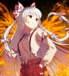 1girl bangs bow breasts buttons closed_mouth cowboy_shot dutch_angle eyebrows_visible_through_hair fiery_background fiery_wings fire fujiwara_no_mokou hair_bow hands_in_pockets highres jill_07km juliet_sleeves long_hair long_sleeves looking_to_the_side navel pants phoenix_wings puffy_sleeves red_eyes red_pants shirt small_breasts smile solo standing suspenders symbol_commentary touhou very_long_hair white_hair white_shirt