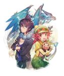 1boy 1girl alain_(pokemon) bangs black_hair black_pants blue_eyes blue_fire charizard chespin closed_mouth commentary_request crossed_arms dated fingerless_gloves fire gen_1_pokemon gen_6_pokemon gloves green_headwear hair_between_eyes hat holding holding_pokemon jacket kusuribe long_sleeves mairin_(pokemon) mega_charizard_x mega_pokemon open_mouth pants pokemon pokemon_(anime) pokemon_(creature) redhead smile