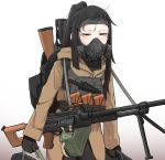 1girl assault_rifle backpack bag black_hair breathing carrying coat firearm forehead gas_mask gradient gradient_background gun half-closed_eyes highres k0ng knife knife_holster luggage machine_gun original ponytail red_eyes rifle sidelocks sweat tactical_clothes vest weapon white_background
