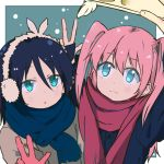 2girls :3 bangs black_hair blue_coat blue_scarf border brown_coat cellphone closed_mouth coat commentary_request earmuffs eyebrows_visible_through_hair gloves green_background green_eyes hair_between_eyes holding holding_phone kuroki_tomoko long_hair maromi_(am97) multiple_girls nemoto_hina open_mouth outside_border phone pink_hair red_gloves red_scarf scarf self_shot snowing taking_picture two_side_up upper_body w watashi_ga_motenai_no_wa_dou_kangaetemo_omaera_ga_warui! white_border winter_clothes