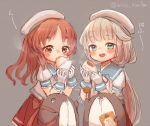 2girls baozi blue_sailor_collar bokukawauso brown_eyes brown_hair chicken_nuggets commentary_request cowboy_shot drooling eating food frilled_sleeves frills gloves green_eyes grey_background grey_hair hat kantai_collection long_hair low_twintails mikura_(kantai_collection) multiple_girls otter pleated_skirt puffy_short_sleeves puffy_sleeves red_skirt sailor_collar sailor_hat sailor_shirt saliva shirt short_sleeves simple_background skirt thick_eyebrows twintails twitter_username wavy_hair white_gloves white_headwear white_shirt wss_(nicoseiga19993411) yashiro_(kantai_collection)