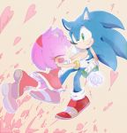 1boy 1girl amy_rose boots crying dress flower furry gloves green_eyes grin hairband heart hetero holding holding_flower nervous_smile red_dress red_footwear rose shoes smile sneakers sonic sonic_the_hedgehog tears tondamanuke white_flower white_gloves white_rose