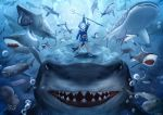 1girl a animal_costume animal_hood bangs blue_eyes blue_hair blue_hoodie blunt_bangs cosplay fish_skeleton gawr_gura gawr_gura_(cosplay) hair_ornament highres hololive hololive_english holomyth hood medium_hair multicolored_hair polearm scale_(winston98) shark shark_costume shark_girl shark_hair_ornament shark_hood shark_print shark_tail sharp_teeth shoes silver_hair sleeves_past_wrists sneakers streaked_hair tail teeth trident two_side_up virtual_youtuber weapon white_footwear wide_sleeves