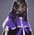 1girl black_hair cyberpunk dasha_art gas_mask green_eyes highres jacket long_hair mask original punk science_fiction solo
