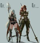 2girls absurdres armor armored_boots boots breasts dark_elf elf grey_hair highres jmyi lance large_breasts long_hair long_pointy_ears multiple_girls original pointy_ears polearm ponytail redhead weapon white_hair