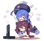 2girls absurdly_long_hair ahoge bangs black_headwear black_legwear black_skirt blue_hair blush brown_eyes commentary_request controller cushion eel_hat flat_screen_tv floral_background game_controller gradient_hair hair_between_eyes hair_ornament hairclip hat headgear highres holding long_hair long_sleeves milkpanda multicolored_hair multiple_girls otomachi_una pantyhose pleated_skirt purple_hair red-framed_eyewear semi-rimless_eyewear shadow sitting skirt sleeves_past_fingers sleeves_past_wrists socks solid_circle_eyes solid_oval_eyes sweat talkex television touhoku_kiritan twintails under-rim_eyewear very_long_hair voiceroid wariza white_background white_legwear zabuton
