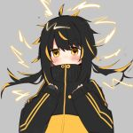 1girl bangs black_hair black_jacket blonde_hair covered_mouth daifukumochi_(akaaokiiwo) electricity eyebrows_visible_through_hair full_body gen_8_pokemon grey_background hair_between_eyes hands_up high_collar jacket long_hair long_sleeves looking_at_viewer low_twintails multicolored_hair personification pincurchin pokemon simple_background sleeves_past_wrists solo streaked_hair symbol-shaped_pupils twintails upper_body v-shaped_eyebrows yellow_eyes yellow_jacket